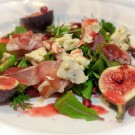 Starter: Fresh Fig Salad with baby leaves, Parma Ham, gorgonzola with fresh raspberry dressing