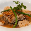 Main Course: Cape Salmon with scallops, mushroom broth, served on lentils and baby beans