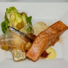 Buitenverwachting – Edgar's Caesar Salad with a Twist Panfried Norwegian Salmon, Cos Lettuce, poached Quail Eggs, white Anchovies, Parmesan, Pancetta & Croutons