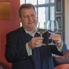 Michael Crossley explaining Riedel grape varietal specific stemware